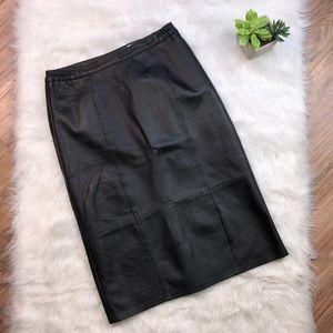 Women's black leather midi skirt size M